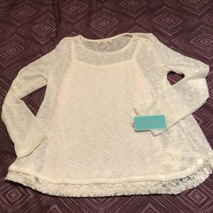 Other - Girl's Layered Sweater with Lace Trim, NWT, L